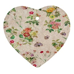 Vintage Flowers Wallpaper Pattern Heart Ornament (two Sides)