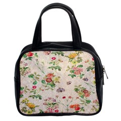 Vintage Flowers Wallpaper Pattern Classic Handbags (2 Sides)