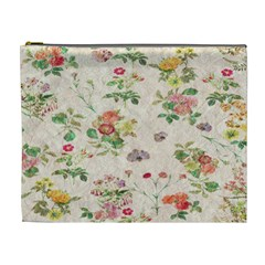 Vintage Flowers Wallpaper Pattern Cosmetic Bag (xl)