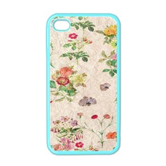 Vintage Flowers Wallpaper Pattern Apple Iphone 4 Case (color)