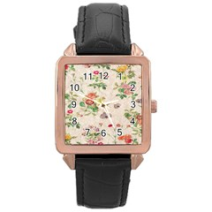 Vintage Flowers Wallpaper Pattern Rose Gold Leather Watch