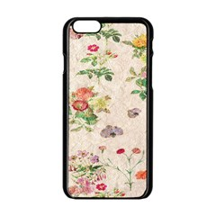 Vintage Flowers Wallpaper Pattern Apple Iphone 6/6s Black Enamel Case