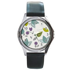 Leaves Flowers Abstract Round Metal Watch