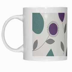 Leaves Flowers Abstract White Mugs