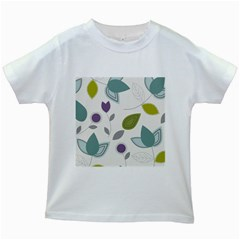Leaves Flowers Abstract Kids White T Shirts