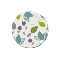 Leaves Flowers Abstract Magnet 3  (round)