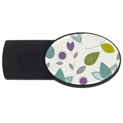 Leaves Flowers Abstract Usb Flash Drive Oval (2 Gb)