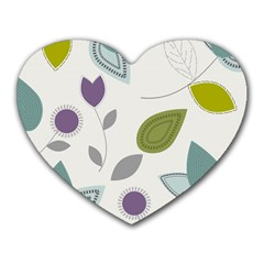Leaves Flowers Abstract Heart Mousepads
