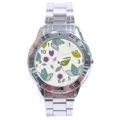 Leaves Flowers Abstract Stainless Steel Analogue Watch