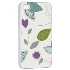 Leaves Flowers Abstract Apple Iphone 4/4s Seamless Case (white)