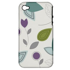 Leaves Flowers Abstract Apple Iphone 4/4s Hardshell Case (pc+silicone)