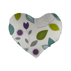 Leaves Flowers Abstract Standard 16  Premium Heart Shape Cushions