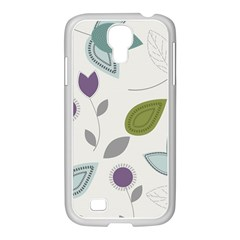 Leaves Flowers Abstract Samsung Galaxy S4 I9500/ I9505 Case (white)