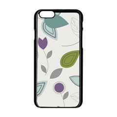 Leaves Flowers Abstract Apple Iphone 6/6s Black Enamel Case
