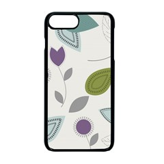 Leaves Flowers Abstract Apple Iphone 7 Plus Seamless Case (black)
