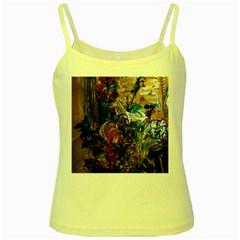 Flowers And Mirror Yellow Spaghetti Tank