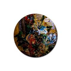 Flowers And Mirror Rubber Coaster (round)