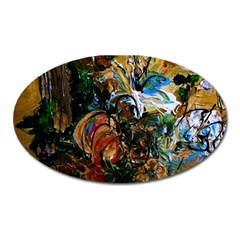Flowers And Mirror Oval Magnet