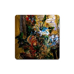 Flowers And Mirror Square Magnet