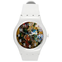Flowers And Mirror Round Plastic Sport Watch (m)