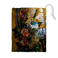 Flowers And Mirror Drawstring Pouches (extra Large)