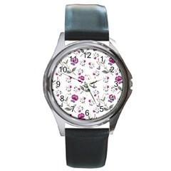 Floral Wallpaper Pattern Seamless Round Metal Watch