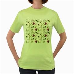 Floral Wallpaper Pattern Seamless Women s Green T Shirt