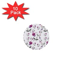 Floral Wallpaper Pattern Seamless 1  Mini Buttons (10 Pack)