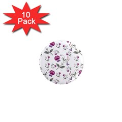 Floral Wallpaper Pattern Seamless 1  Mini Magnet (10 Pack)