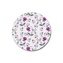 Floral Wallpaper Pattern Seamless Rubber Round Coaster (4 Pack)