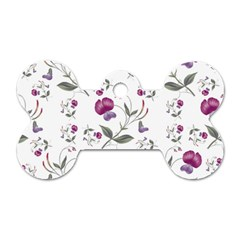 Floral Wallpaper Pattern Seamless Dog Tag Bone (two Sides)