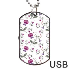 Floral Wallpaper Pattern Seamless Dog Tag Usb Flash (one Side)