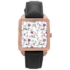 Floral Wallpaper Pattern Seamless Rose Gold Leather Watch