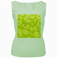 Floral Vintage Wallpaper Pattern Women s Green Tank Top