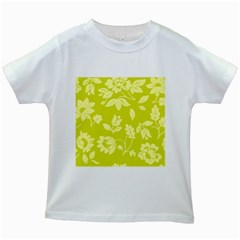 Floral Vintage Wallpaper Pattern Kids White T Shirts