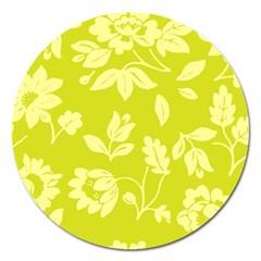 Floral Vintage Wallpaper Pattern Magnet 5  (round)