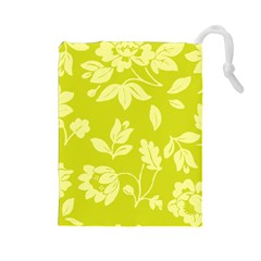 Floral Vintage Wallpaper Pattern Drawstring Pouches (large)
