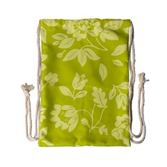 Floral Vintage Wallpaper Pattern Drawstring Bag (small)