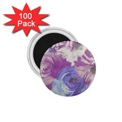 Floral Vintage Wallpaper Pattern Pink White Blue 1 75  Magnets (100 Pack)