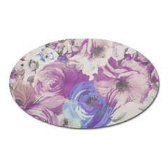 Floral Vintage Wallpaper Pattern Pink White Blue Oval Magnet