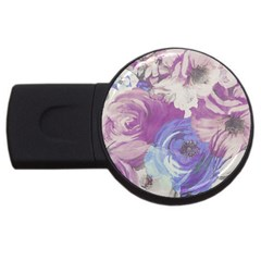 Floral Vintage Wallpaper Pattern Pink White Blue Usb Flash Drive Round (2 Gb)