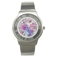 Floral Vintage Wallpaper Pattern Pink White Blue Stainless Steel Watch
