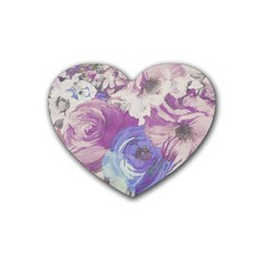 Floral Vintage Wallpaper Pattern Pink White Blue Rubber Coaster (heart)