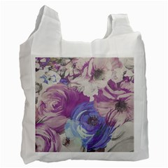 Floral Vintage Wallpaper Pattern Pink White Blue Recycle Bag (one Side)