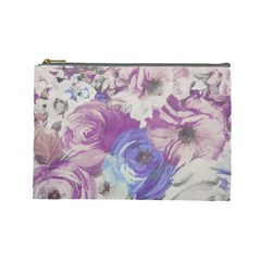 Floral Vintage Wallpaper Pattern Pink White Blue Cosmetic Bag (large)