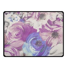 Floral Vintage Wallpaper Pattern Pink White Blue Fleece Blanket (small)