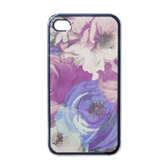 Floral Vintage Wallpaper Pattern Pink White Blue Apple Iphone 4 Case (black)