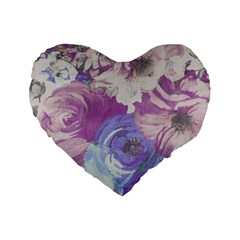 Floral Vintage Wallpaper Pattern Pink White Blue Standard 16  Premium Heart Shape Cushions