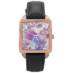 Floral Vintage Wallpaper Pattern Pink White Blue Rose Gold Leather Watch
