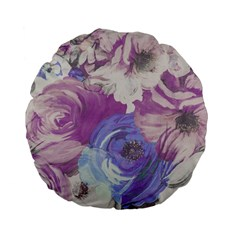 Floral Vintage Wallpaper Pattern Pink White Blue Standard 15  Premium Flano Round Cushions